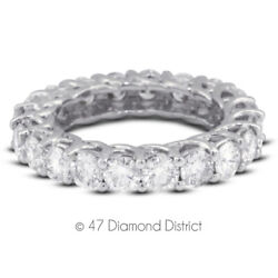 3 1/2ct Tw I Si1 Round Cut Earth Mined Certified Diamonds 14k Gold Eternity Band