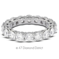 2ct Tw H Si1 Round Cut Earth Mined Certified Diamonds 18k Gold Eternity Ring