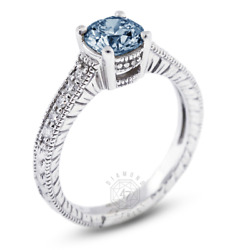 1.19 Ct Blue Si1 Round Natural Diamonds 18k Vintage Style Side-stone Ring