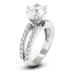 1.56ct Tw E Si1 Round Earth Mined Certified Diamonds 18k Gold Side-stone Ring