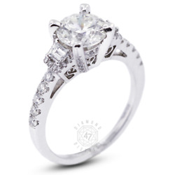 2.52 Ct H Si2 Round Natural Diamonds 18k Gold Vintage Style Sidestone Ring