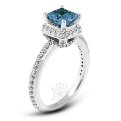 1.49ct Tw Blue Si1 Radiant Natural Certified Diamonds Plat Halo Sidestone Ring
