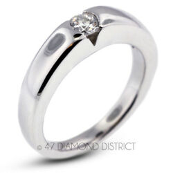 0.28ct H Si1 Round Natural Certified Diamond 18k Gold Solitaire Engagement Ring
