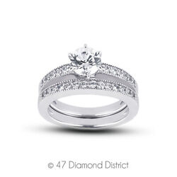 0.93 Ct H-si1 Round Natural Diamonds Plat Vintage Style Ring With Wedding Band