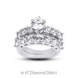 1.52 Ct H Vs2 Round Natural Diamonds Plat Classic Ring With Wedding Band