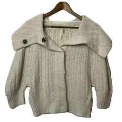 Free People Wool Blend Button Up Cardigan 3/4 Sleeve Medium Chunky Knit
