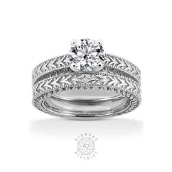 0.70ct D Vs2 Round Natural Diamond Plat Vintage Style Ring With Wedding Band