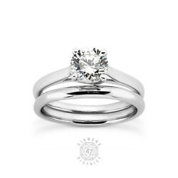 1.03ct G Si2 Round Cut Natural Certified Diamond 18k Gold Ring With Wedding Band