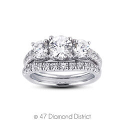 1.75 Ct I Vs2 Round Natural Diamonds 14k Vintage Style Ring With Wedding Band