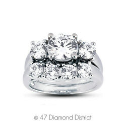 1.48 Ct H-vs2 Round Natural Certified Diamonds 14k Classic Engagement Ring Set