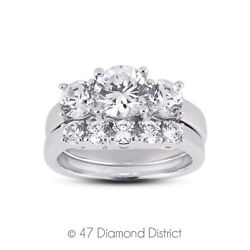 1.87 Ct D-vs2 Round Natural Diamonds 14k Classic Ring With Wedding Band