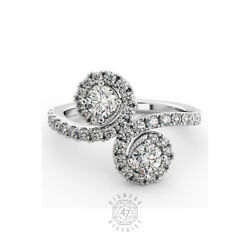1.81ct Tw G-vs2 Round Natural Certified Diamonds 14k Gold Halo Two-stone Ring