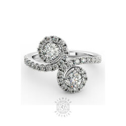 1.80ct Tw G-si1 Round Natural Certified Diamonds 18k Gold Halo Engagement Ring