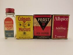 Vintage Lot Of 4 Spice Tins And Bottle Schilling Colman's Feast Durkee's