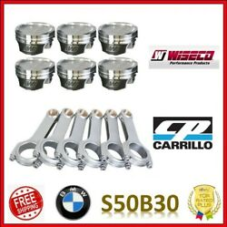 Wiseco 3.405 86.50 Mm 10.01 Cr Pistons / Cp Pro-h Carr Rod Set For Bmw S50b30