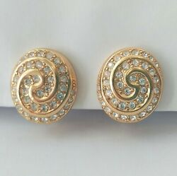 Vintage Christian Dior Gold Crystal Earrings Fine Costume Jewelry