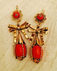 Atq 10k Gold Red Coral Vibrant Mexican Wedding Chandelier Earrings 54 Mm 11.9 G