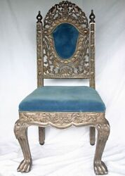 Anglo-indian Silver Clad Velvet Upholstered Chair