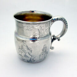 Acid Etched Scenic Mug Gilt Interior Whiting Sterling Silver 1901 Mono Mwc