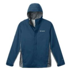New Columbia Mens Timber Pointe Waterproof Hooded Rain Jacket Blue Big And Tall