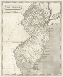 New Jersey State Map By Arrowsmith And Lewis 1812 Old Antique Plan Chart