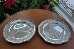 Set Of 2 1795 George Smith Iii And William Fearn Sterling Silver 11 Dinner Plates
