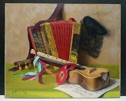 Listed French Robert Chailloux Sd Orig O/c Still Life W/ Musical Instruments