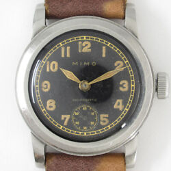 Mimo Small Second Black Guild Dial Manual Vintage Watch 1940's Overhauled