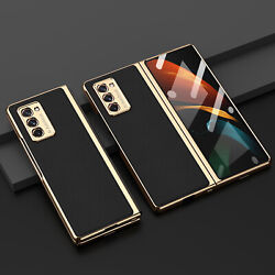 Electroplating + Glass Cover Case Shockproof Shell For Samsung Galaxy Z Fold 2