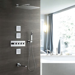 350550mm Stainless Steel Shower Head Set With Brass Thermostatic Valve Chrome