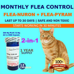 1 Year Supply 12 Capsules 2 In 1 Monthly Flea Control 205mg+12mg Cats 2-20lbs