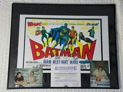 Adam West And Burt Ward Signed Batman 11x17 Movie Poster In Frame With Photos, Coa
