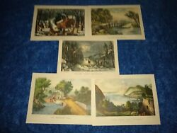 Currier And Ives Lithographs American Homestead 5 Prints Each Are 12 X 9