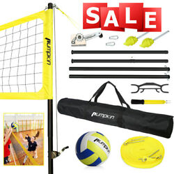 Volleyball Tennis Net Set With Stand Frame Carry Bag 32 Feet Portable Badminton