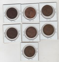 Lot Of 7 English 1938 - 1948. British Uk Large One Penny Coins Britain Km