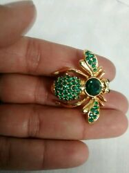 Nice Vintage Joan Rivers Green Emerald Crystal Pave Gold Tone Bee Pin Brooch