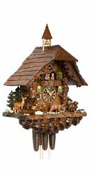Cuckoo Clock Black Forest House Moving Bears And Moving Mill Wh.. Ho 86760t New