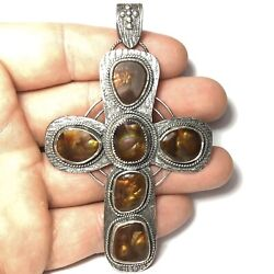 156 Ct Tw Natural Untreated Arizona Fire Agate Sterling Silver Cross Pendant Usa