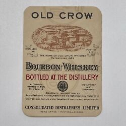 Vintage Old Crow Bourbon Whiskey Bottle Label Montreal Canada - Never Used