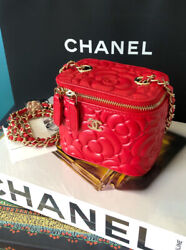 Red Calfskin Camellia Mini Vanity With Chain