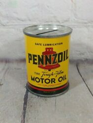 Vintage Pennzoil Motor Oil Coin Bank 3 Metal Oil Can Gas Sign - Great Condition