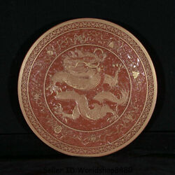 8 Qianlong Marked Old China Dynasty Coral Red Porcelain Gilt Dragon Plate Tray