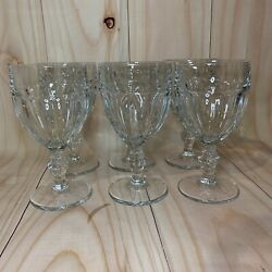 Vintage Libbey Gibraltar Set Of 6 Clear Water Goblets / Wine Glasses Duratuff