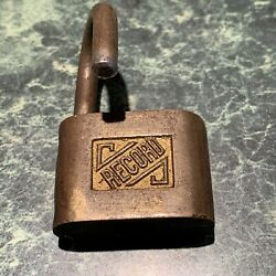 1 Vintage Antq. Brass Padlock By Record Open With No Key