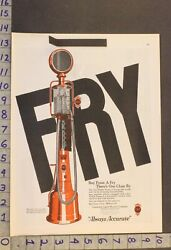 1925 Auto Fry Visible Gasoline Pump Station Mechanic Rochester Penn Car Ad Wu51