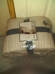 Gray Stitched Stripe Quilt King - Threshold Brand New Sealed