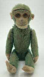 Rare Antique 1920's Schuco 8 Inch Jointed Green Monkey Flask Bottle