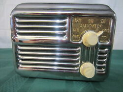 Arvin 444a / 445a Chrome Radio - Untested - Deco - Looks Great