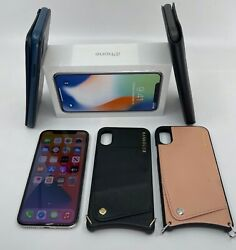 Apple Iphone X 256gb Silver Unlocked A1865 And 4 Leather Bandolier And Apple Covers