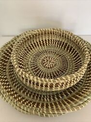 Sweet Grass Basket -10 X 4 Braided Edge In / Out - 15 Inch Fanner - 2 Basket Set